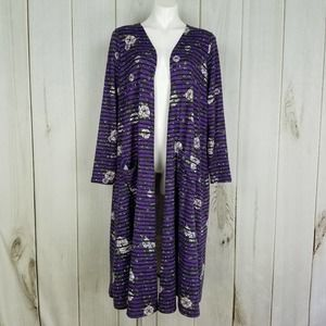 Lularoe Purple Floral Long Duster Cardigan